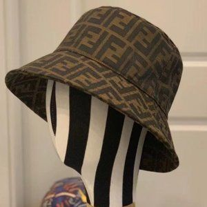 Fendi Classic Embroidery Brown Bucket Hat